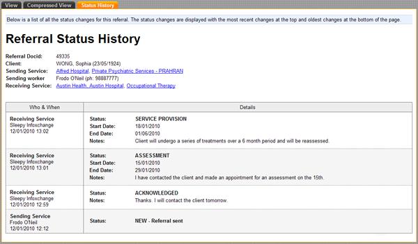 History Tab Screen-shot